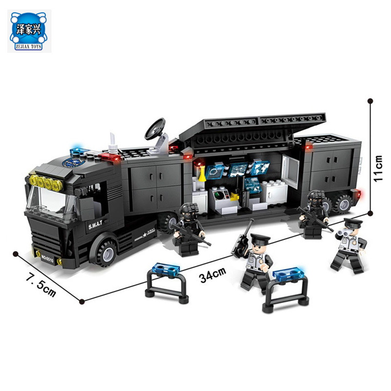 Police Station SWAT Command Car Soldiers Military Series Model Building Blocks brikcks Compatible with Lepins City Boy Toy Gift city series police car motorcycle building blocks policeman models toys for children boy gifts compatible with legoeinglys 26014