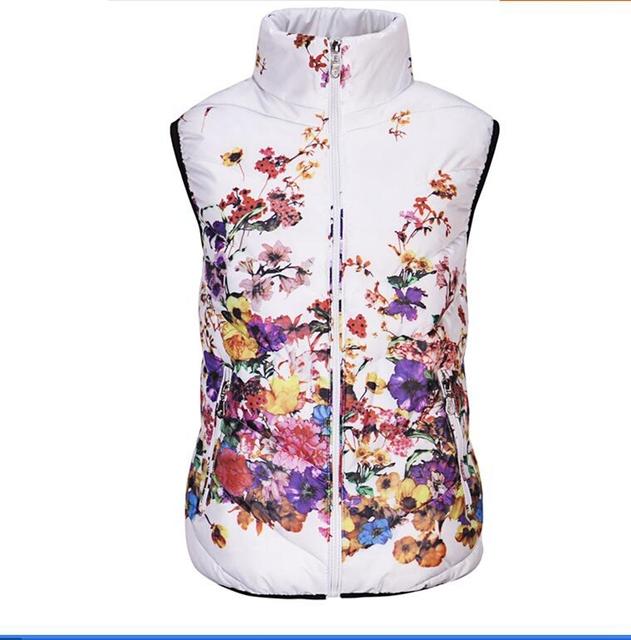 Genuinos de las señoras chaleco chaqueta de Invierno Mujeres de Corea del párrafo corto Delgado Abajo Chaleco de algodón chaleco de algodón de impresión