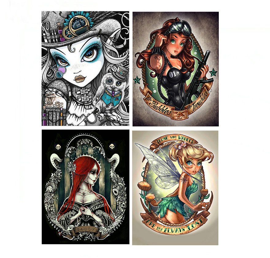 4 kinds of diamond pictures mosaic full & round / square DIY diamond embroidery mosaic girl crafts home decoration