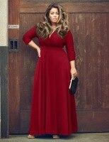 Sexy Fashion Pure Color Long Dress V Neck Big Pendulum Type Maxi Dress Plus Size Women