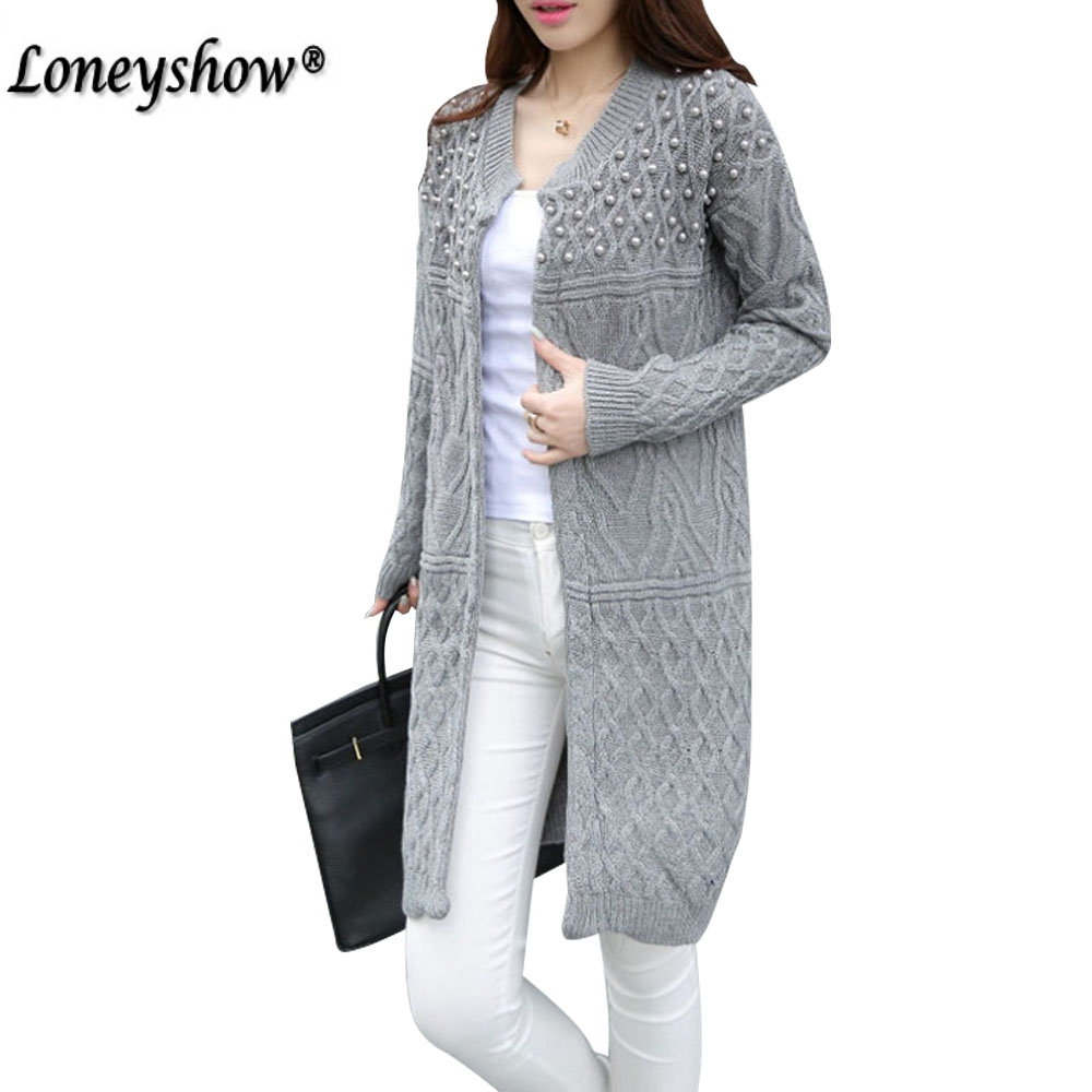 2017 Winter Long Sweater Coat for Women Pearl Formal Office Long Cardigans Christmas Sweaters Oversized Coat Knitted camisola