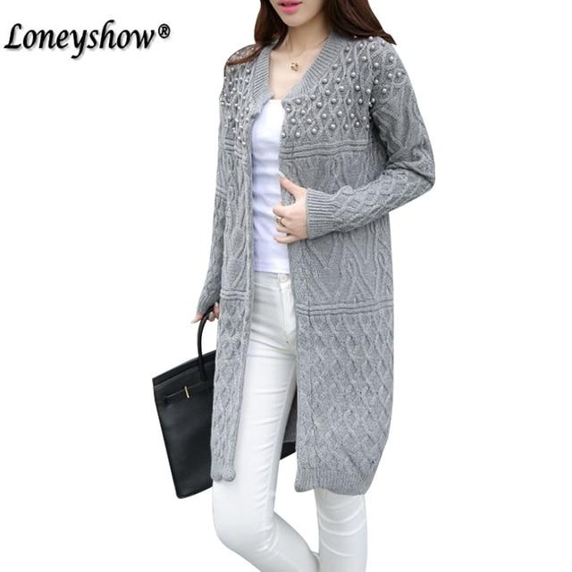 2017 invierno largo suéter para las mujeres perla Oficina Formal largo  Cardigans suéteres de Navidad Oversized 74012b2aa40b