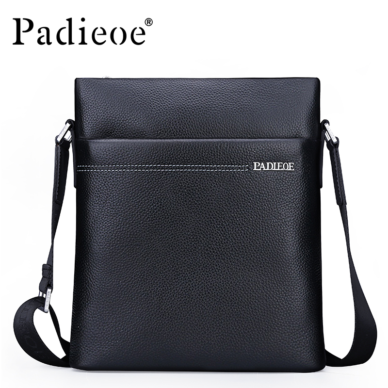 Padieoe Famous Brand Shoulder Bag Genuine Cow Leather Crossbody Bag Classic Designer Messenger Bag High Quality Male Bags padieoe business men s messenger bag famous brand shoulder bags high quality pvc crossbody bag luxury designer handbags for male