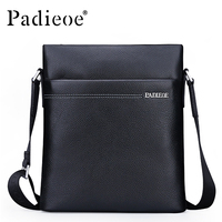 Padieoe Famous Brand Shoulder Bag Genuine Cow Leather Crossbody Bag Classic Designer Messenger Bag High Quality Male Bags
