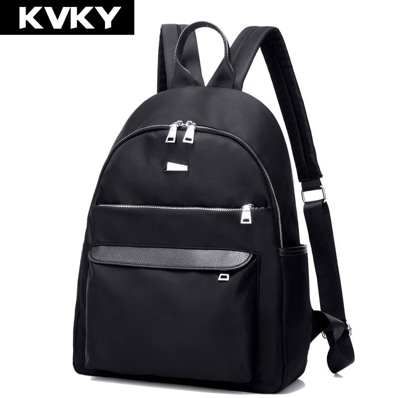 KVKY Women Waterproof Nylon Backpack Zipper Laptop Backpack Female Solid Color Fashion School Bags For Teenagers Girl Travel bag