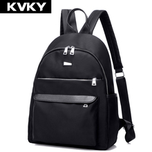 KVKY Women Waterproof Nylon Backpack Zipper Laptop Backpack Female Solid Color Fashion School Bags For Teenagers