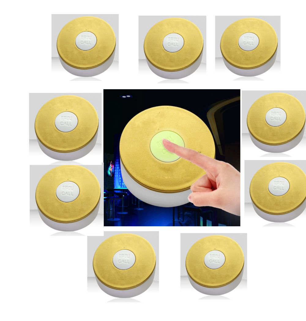 Free shipping! 10pcs fluorescent silica gel sliver wireless pager system button, Bar/coffee shop/KTV/bath room waiter service