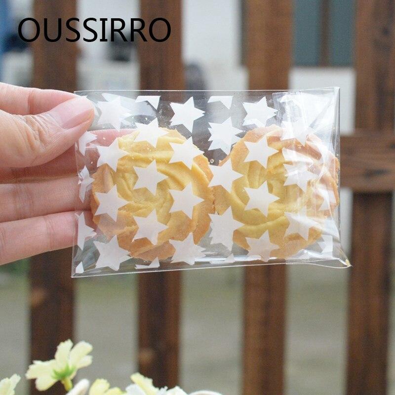 Bílá hvězda transparentní vánoční svatební cukroví dárkové tašky sušenky sušenky pytel pečení plastové balení pytel DIY Party Favor