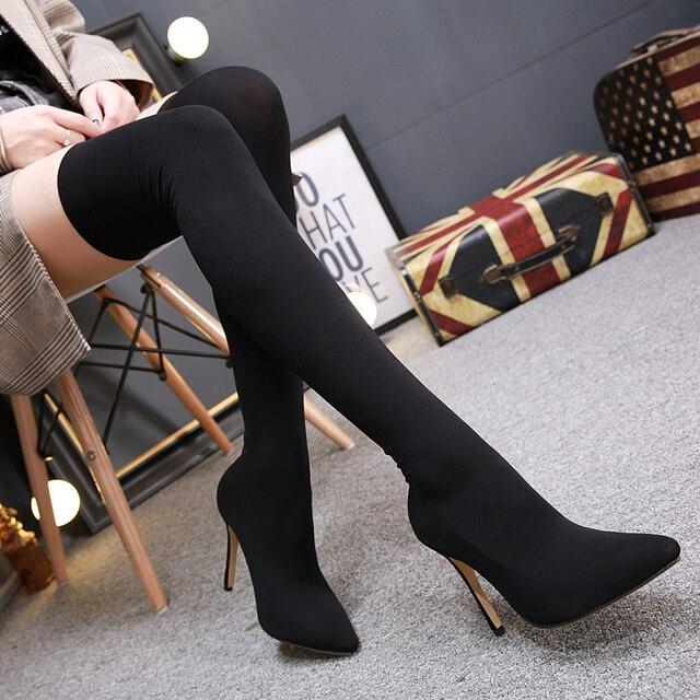 2018 Tamanho 40 Mulheres Sexy Sobre O Joelho Botas Altas Feminino Vestido de Seda Longo Meia Botas de Estiramento Senhoras 11 cm sapatos de Salto alto Sapatos De Cetim