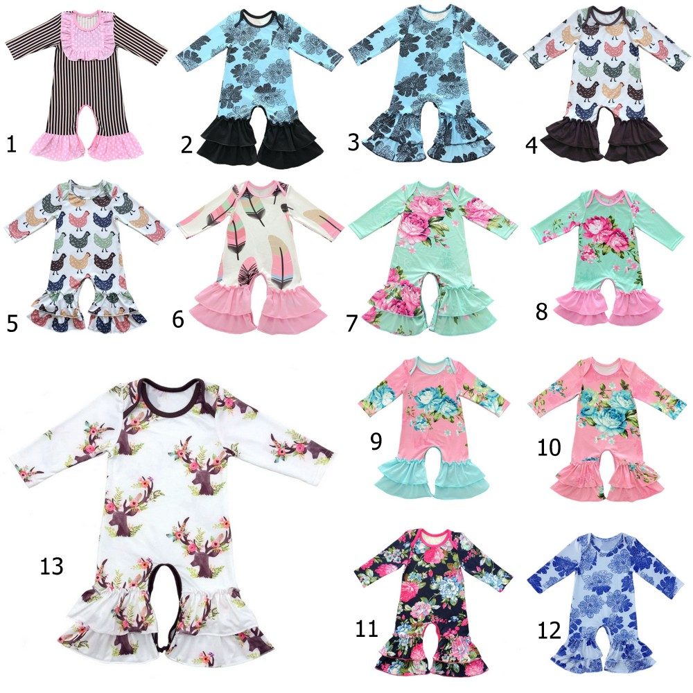 Boutique newborn baby clothes floral printed animals leopard chicks baby   romper   simple cotton icing ruffled leg   romper   pants