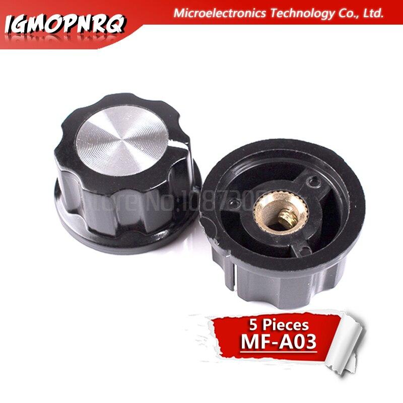 5pcs MF-A03 Potentiometer Knob WH118/WX050 Bakelite Knob Copper Core Inner Hole 6mm Hat