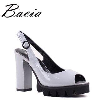Bacia Full Grain Leather Sandals 10.9cm Thick High Heels Fashion Platform Spring Summer Shoes Size 33-41 Pink Grey shoes SA022 sandal