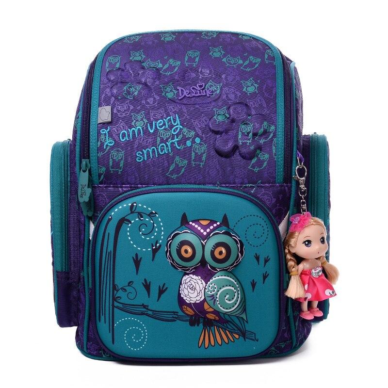 Delune 2018 3D Cartoon Owl School Backpack for Girls Boys Students School Bag Children's Orthopedic Backpacks mochila infantil цена 2017