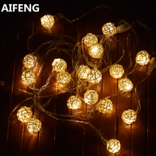 AIFENG 5M 197inch 20LED IP68 Outdoor Rattan Ball Led String Light Decorative Holiday Christmas Cotton Balls light Fairy Lights