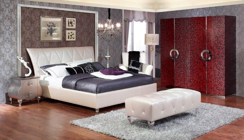 US $1889.55 5% OFF|Designer moderne Echt echtem Leder Bett/weichen  Bett/Doppelbett King Size Schlafzimmer Bett + 2 Nacht steht + Hocker + 4  türig-in ...