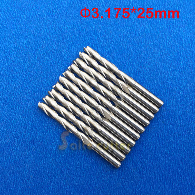 Free Ship 10pcs Solid Carbide Endmill Double Two Flute Spiral Bit CNC Router Bits CED 3.175mm CEL 25mm 1/8 Inch