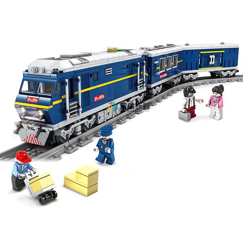 KAZI City Series Power Driven Diesel Train Track Model Building Blocks Train Track Bricks Educational Toys For Children 98220