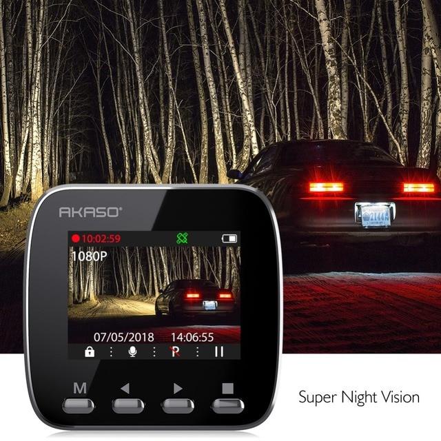 AKASO V1 HD WiFi Car Dash Camera DVR Car Dash Cam with GPS APP 16GB Night Vision Loop Recording G-Sensor Parking Monitor 4