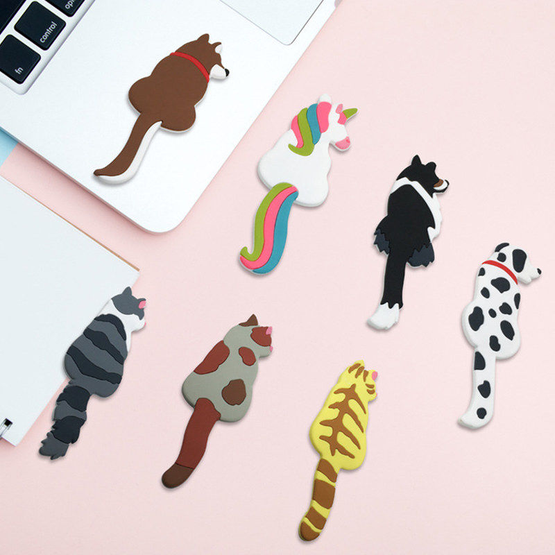 Cute Magnetic Multifunction Cat Dog Animal Shape Key Hanger Fridge Sticker Microwave Refrigerator Magnet Hook Door Decoration