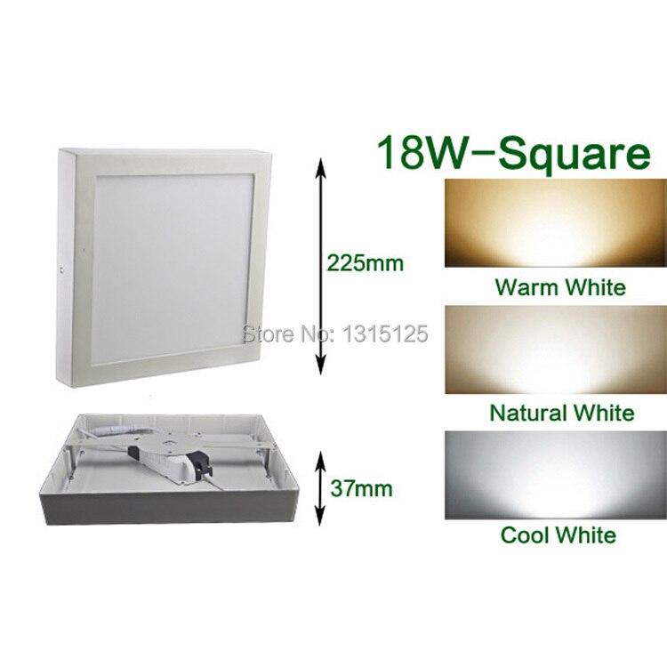12pcs + brezplačna dostava 18W kvadratna plošča bela LED kuhinja svetilka toplo / naravno / hladno bela kvadratna LED lučka AC85-265V