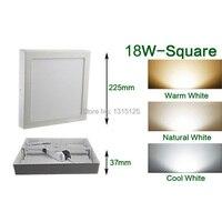 12pcs+Free shipping 18W Square Mounted Panel White LED Kitchen Light Warm/ Natural/ Cool White Square LED Panel Light AC85 265V
