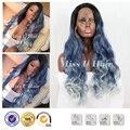 Синие волосы парик синтетического серебряный парик искусственные волосы популярные 2016 черный ombre синий ombre серый парик