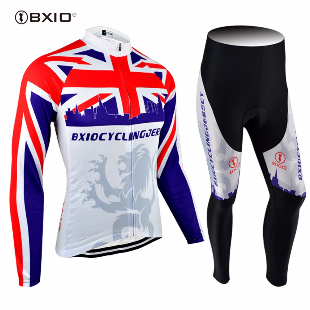BXIO Mens Cycling Sets Long Sleeve With Bib Tights Equipacion Ciclismo Breathable Bike Clothing Autumn Bicycle