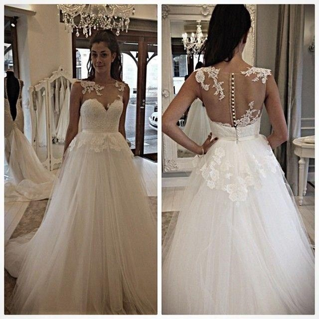 Scoop Illusion Back Covered Buttons Wedding Dress Applique Lace ...