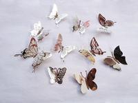 Darmowa Wysyłka 10 Sztuk/partia Kreatywne Ślubne Motyl Naklejki Ścienne Trójwymiarowe Lustro Ze Stali Nierdzewnej Strona Główna Dekoracje Ścienne
