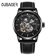 שעון אוטומטי מותג יוקרה העליונה OUBAOER עסקי גברים שלד מכאני שעון ספורט שעוני רטרו עור Relogio Masculino