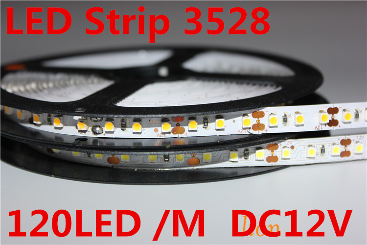 5m 600 LED 3528 SMD 12V Flexible Light 120 Led/m,non-waterproof  LED Strip, White/warm White/blue/green/red/yellow