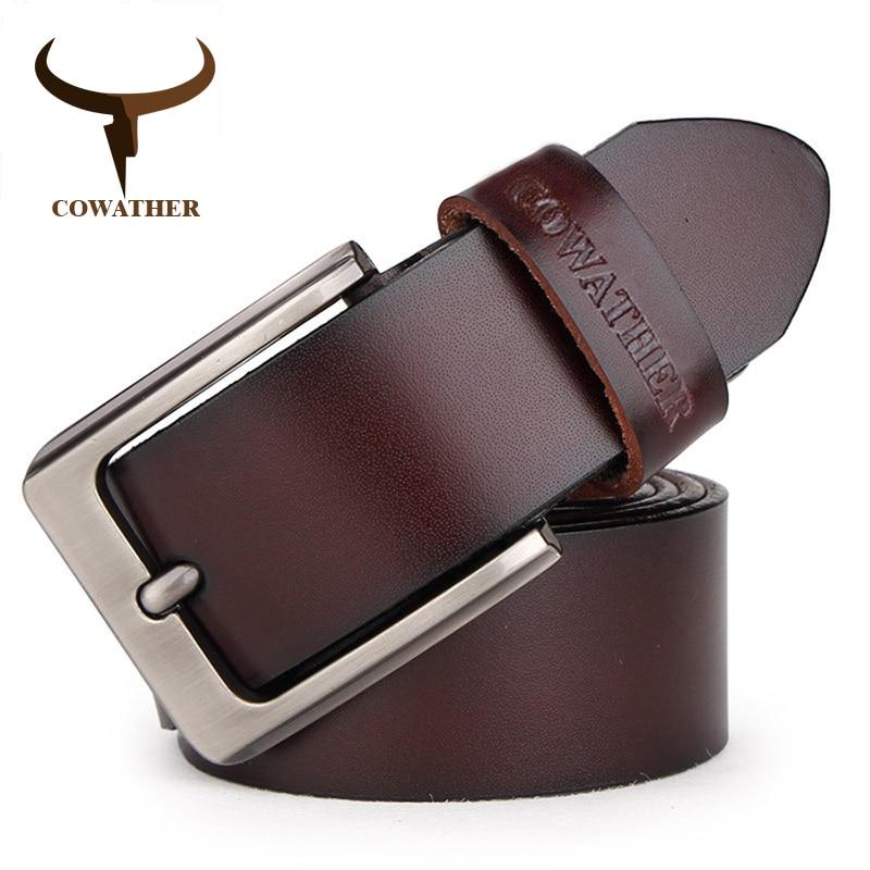 COWATHER peau de vache véritable ceintures en cuir pour hommes marque  Sangle mâle boucle ardillon ... 4c8ca163ce1