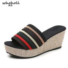 цена WHOHOLL Summer Wedge Slippers Platform High Heels Women Slipper Ladies Outside Shoes Basic Clog Wedge Slipper Flip Flop Sandals в интернет-магазинах