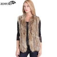 2016 Genuine Rabbit Fur Fur Vest Gilet/waistcoat with Raccoon Dog Fur Collar Trim Women Knitted Fur Gilets Pocket 2 Colors