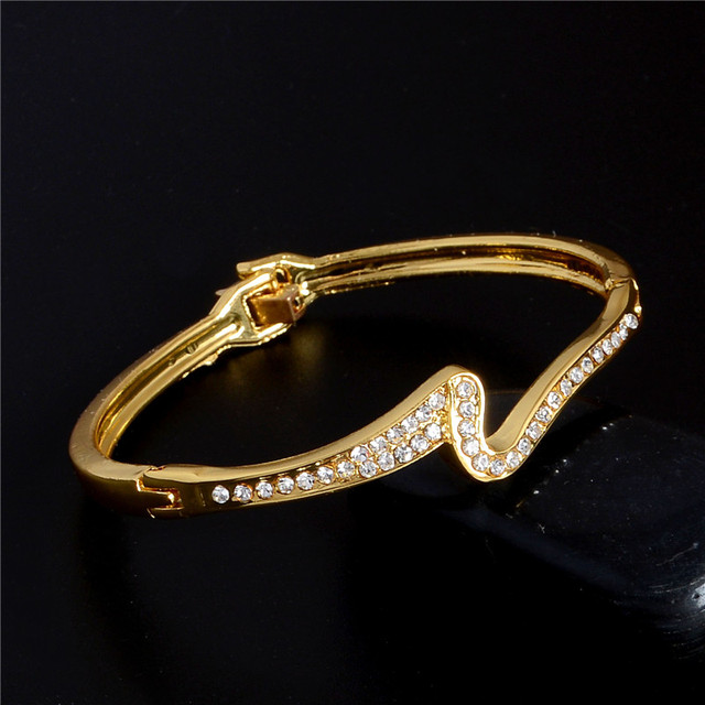 Fashion New Brand Statement  Bangle & Bracelets For Women Full Crystal Elegant Geometry Bangle Wholesale