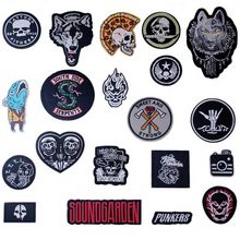 Evil Skull Iron On Patches Badges for Sew Seam Tailoring Clothes Suits of Coat Jacket Trousers T-shirt Pants Ornament Apparel(China)