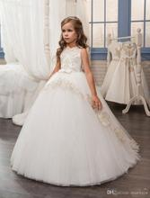 Princess Ball Gown Flower Girls Dresses For Weddings Lace Appliques First Communion Dress Cheap Little Girls Pageant Gowns FH44
