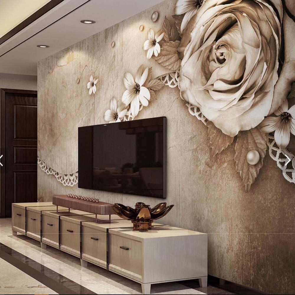 3d Em Relevo Flor Hd Foto Papel De Parede Mural Para Sala De Estar  -> Mural Parede Sala