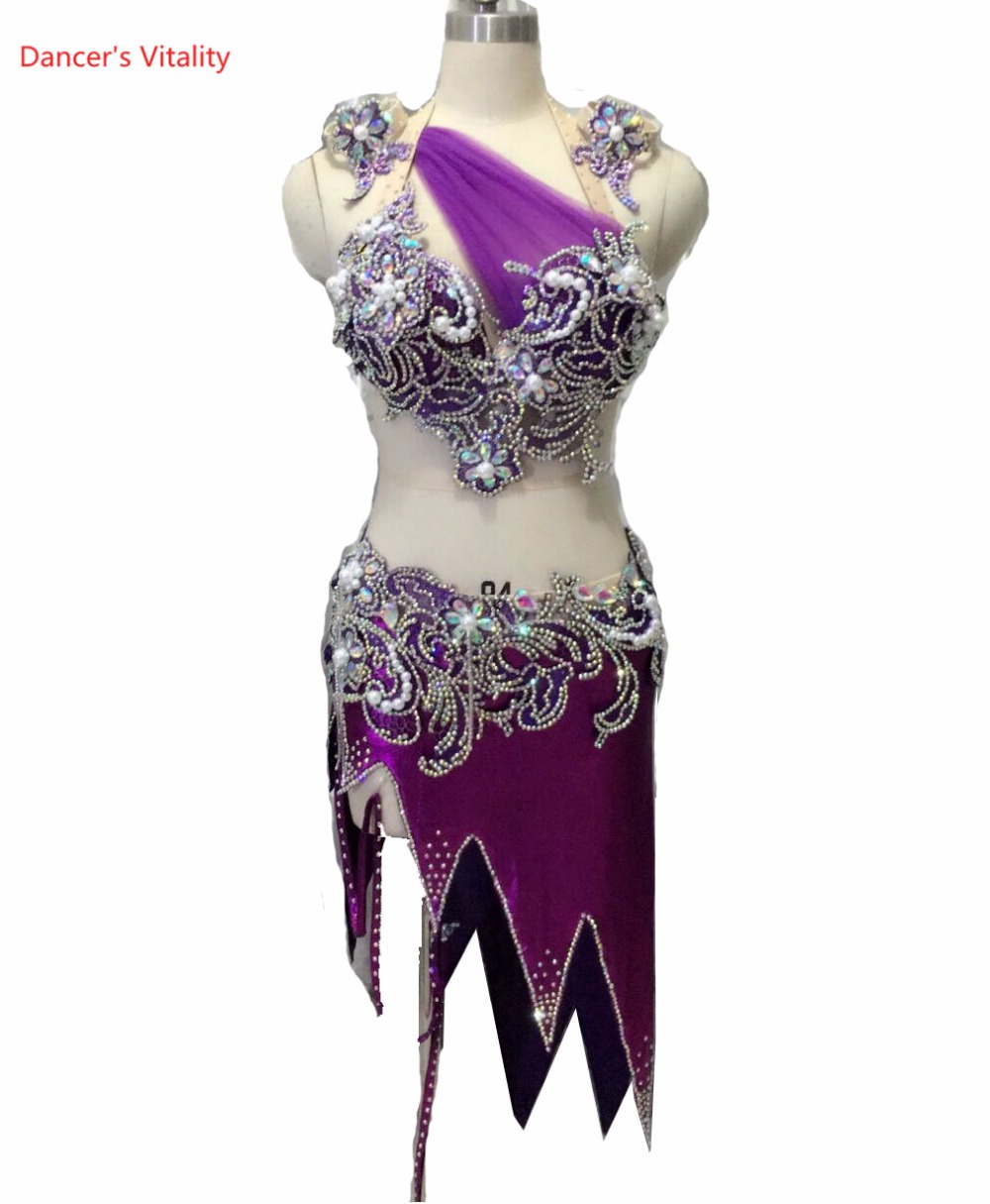 belly dance clothes Performance clothing diamond bra top and short skirt 2pcs girls dance suit lady latin dance competition suit european and american girls latin dance jazz dance professional dance costume stage performance apparel suit