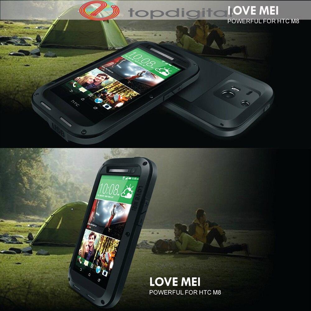 imágenes para AMOR MEI Prueba de Golpes Funda Impermeable para HTC Uno M8 Poderoso Cubierta de la Caja de Metal Resistente para HTC M8 Gorilla Glass Protector