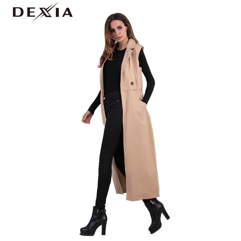 DEXIA Autumn Women Vest Trench Sleeveless Coat Khaki Outwear Long Turn down Collar Single Breasted Button Windbreaker Vest