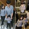 2016 осень семья посмотрите мать дочь соответствующие одежда наряды отец и сын белый черный клетчатую рубашку девушка мальчик школа блузка