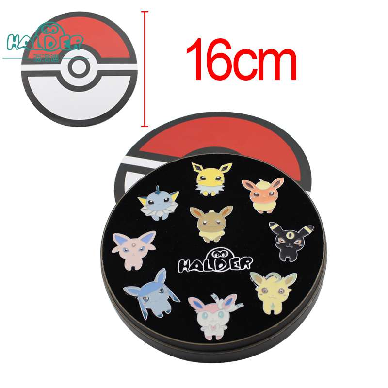 Halder Anime Pocket Monsters Brooches Pins Pokemon Eevee Family Cartoon Broches Pendant Box Cosplay Jewelry Accessories 9pcs