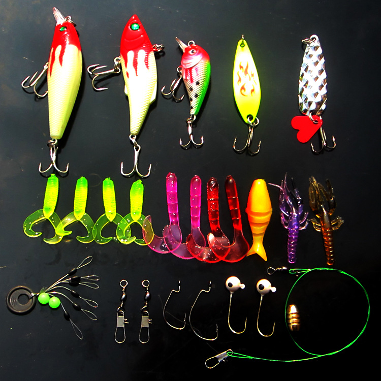 25PCS/lot 15cm 200g Fishing <font><b>Lure</b></font> Hard Bait Soft <font><b>Lure</b></font> Minnow Crankbait Spinner with Feather Hook Fishing <font><b>lure</b></font> set Free Shipping
