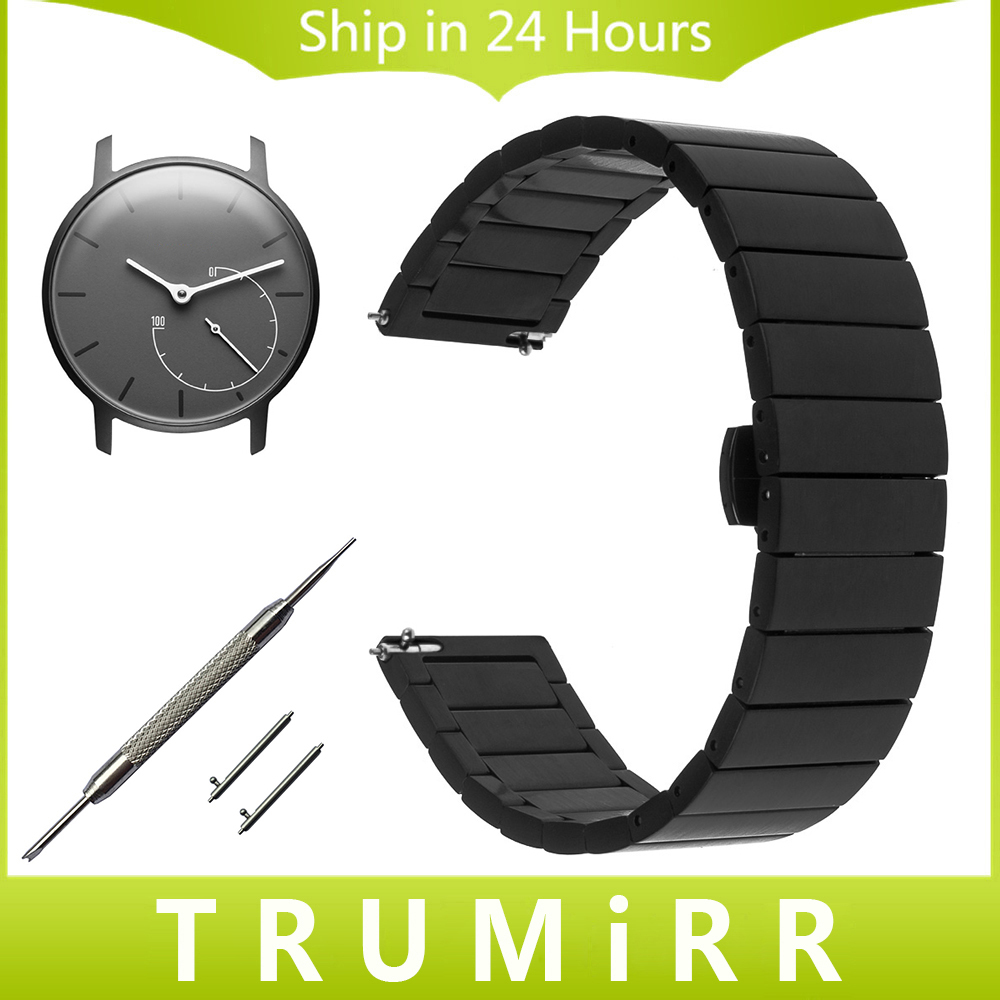 18mm Stainless Steel Watch Band for Withings Activite / Steel / Pop Quick Release Strap Butterfly Buckle Bracelet Black Silver 18mm genuine leather watchband for withings activite steel pop smart watch band wrist strap plain grain belt bracelet tool