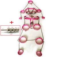 8 unids/set Acero inoxidable macho Dispositivo de Castidad BDSM bondage kit juguetes sexuales para hombres cinturón de castidad Juegos para adultos productos de metal