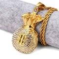Banhado A Ouro Colar de Pingente de Bolsa de Cristal Rhinstone NYUK Cifrão Cool Fashion Bolsa de Dinheiro Forma Hip Hop Homens Jóias Para presentes