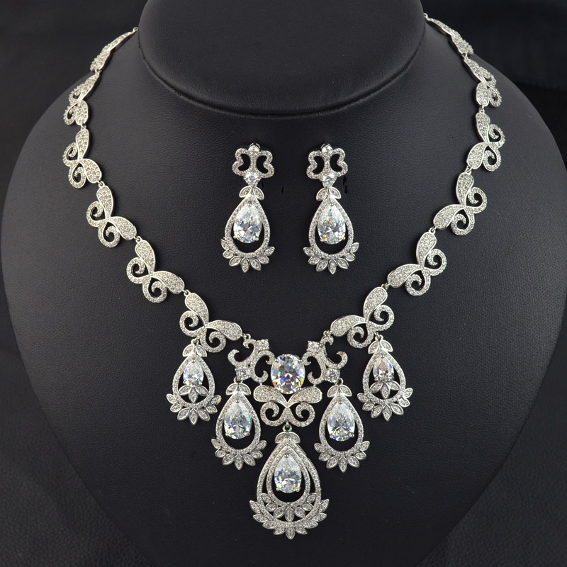 Luxury micro pave zircon tassel wedding bridal jewelry set,high quality necklace earring for bride/bridesmaid