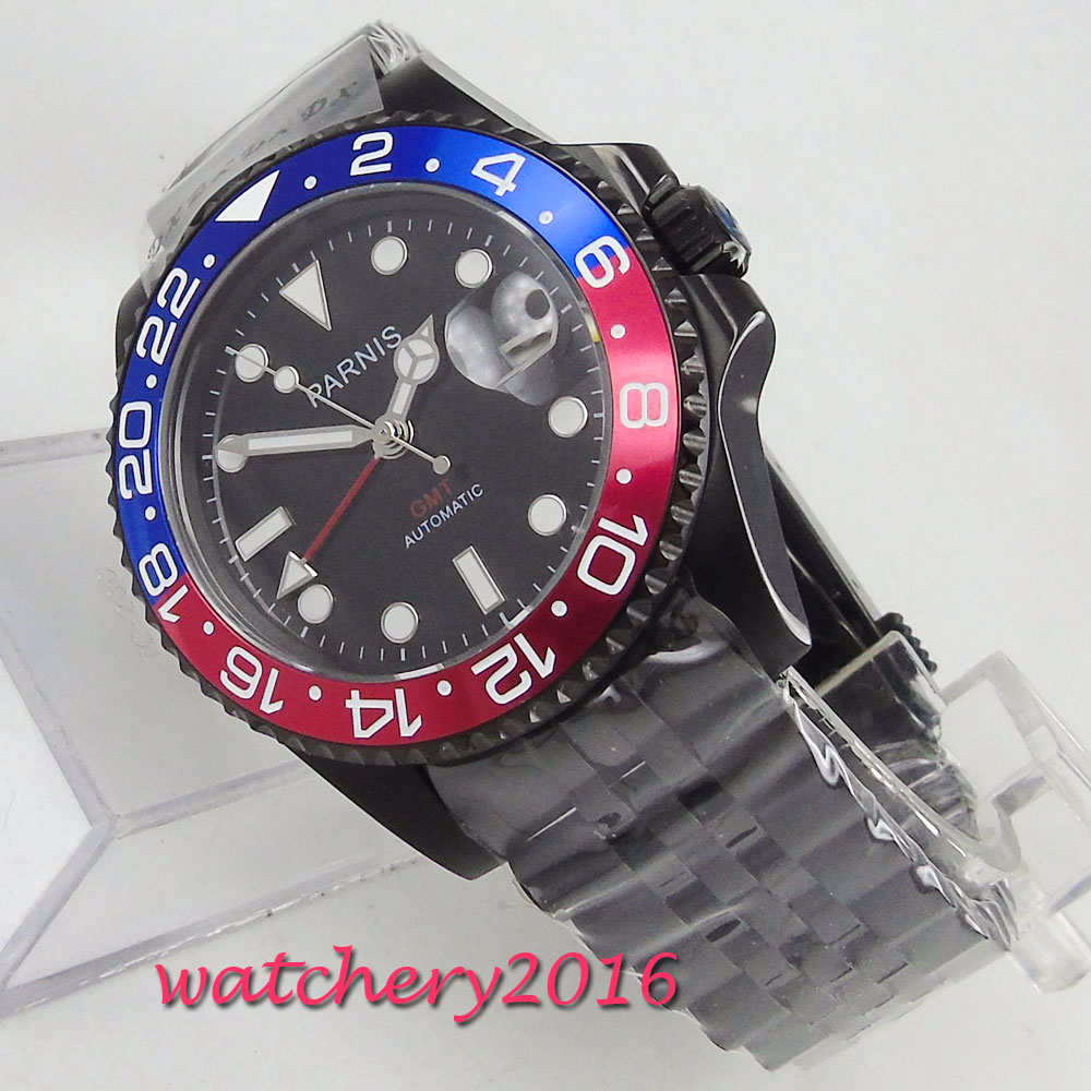 40mm PARNIS GMT Luminous Sapphire Glass Black Dial PVD Coated Automatic Movement mens Watch