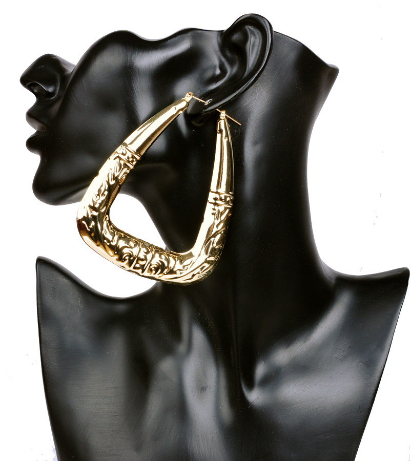 Exaggerated Big Triangle Hoop Earrings for Womens Retro Punk Bamboo Basketball Gold Earrings Fashion Jewelry ER015